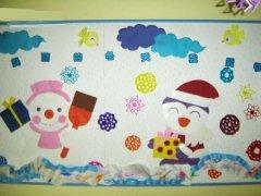 幼儿园小班冬天主题墙:美丽的冬天我爱你图片