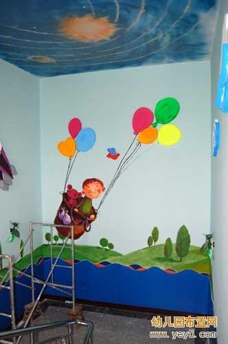 幼儿园楼梯墙壁装饰画:热气球环游世界
