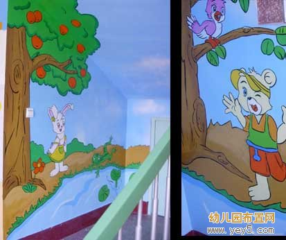 幼儿园楼道墙壁绘画:小熊过河