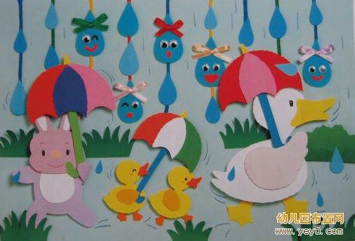 幼儿园墙面装饰设计:小鸭子撑伞