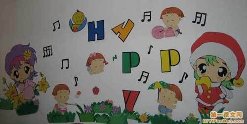 幼儿园音乐教室墙面布置:女孩歌唱图片