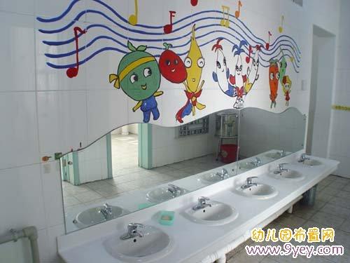 幼儿园卫生间布置:可爱的洗手台