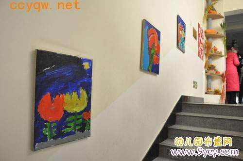 幼儿园楼梯墙面画框装饰:工艺品