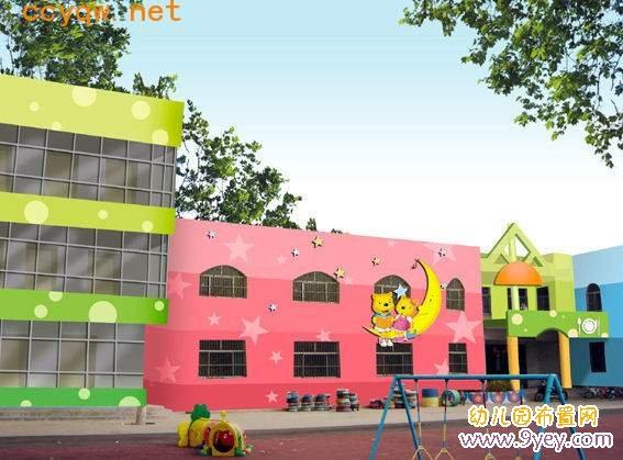 幼儿园外墙彩绘设计:红红绿绿