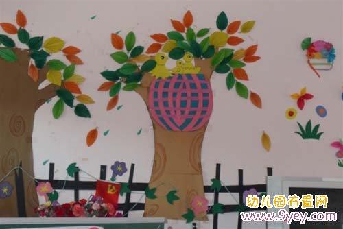 幼儿园教室墙面装饰:森林小鸟