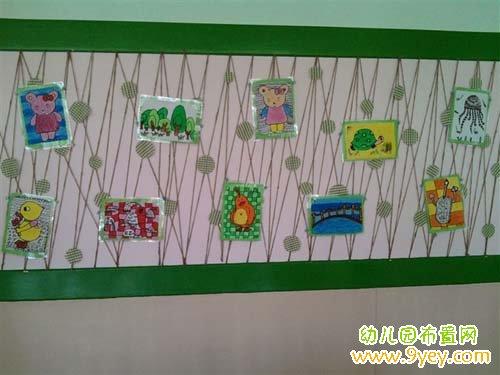 幼儿园走廊区角设计:贴满可爱的图画