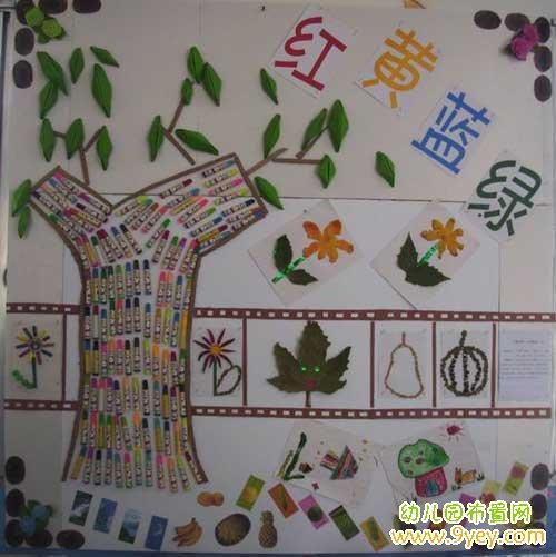 幼儿园认识植物主题墙创设:红黄蓝绿