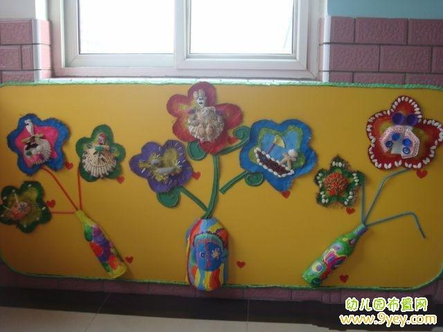 幼儿园走廊墙面装饰:漂亮的手工制作