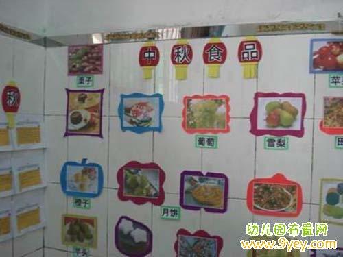 幼儿园中秋节教室墙面装扮:中秋食品