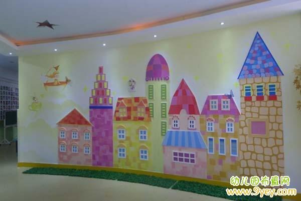 幼儿园大厅墙面布置:可爱石头房墙绘
