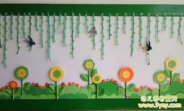 漂亮的幼儿园春天主题墙设计:柳树燕子花草香_幼儿园布置网; 图片