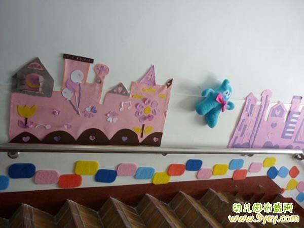 漂亮的幼儿园楼梯墙面贴图装饰