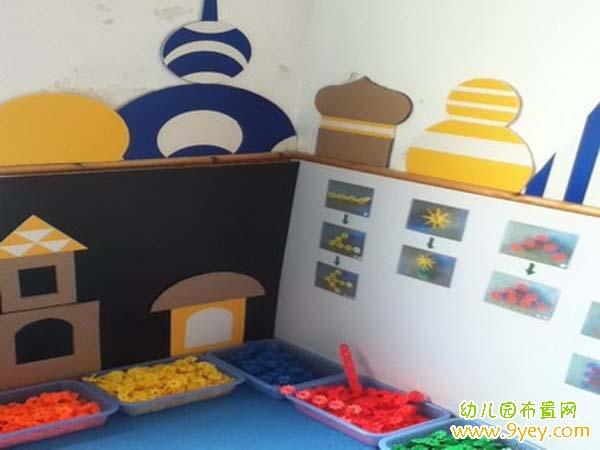幼儿园雪花片拼图 幼儿园雪花 幼儿园建构区