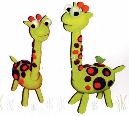幼儿园橡皮泥手工制作动物:长颈鹿
