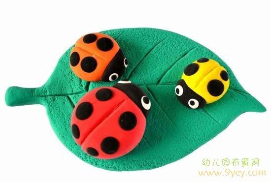 幼儿园橡皮泥制作:三只小瓢虫