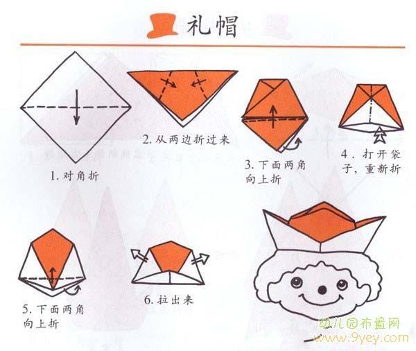 幼儿园关于礼帽的折纸步骤图