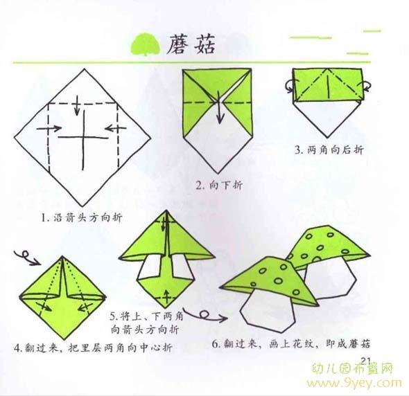 幼儿园小班关于蘑菇的折纸图解图片