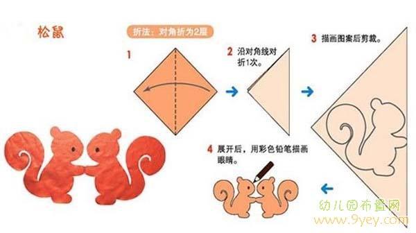 儿童剪纸图案大全及方法:松鼠