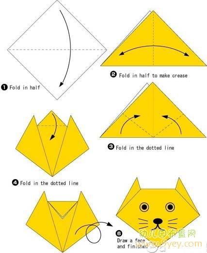 幼儿手工折纸:小狗的脸部