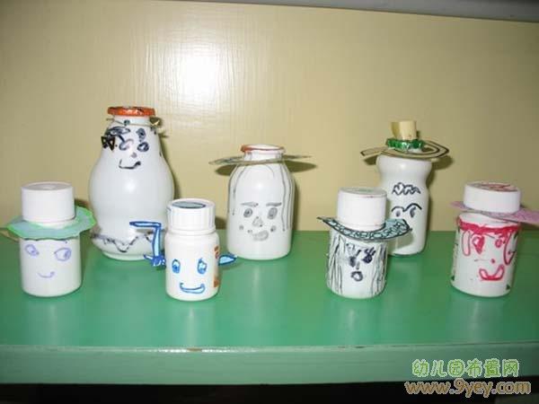 幼儿园废旧物品制作:可爱瓶子小人