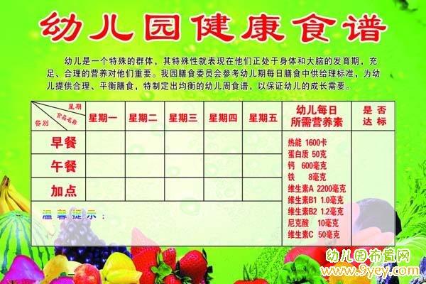 幼儿园健康食谱栏设计