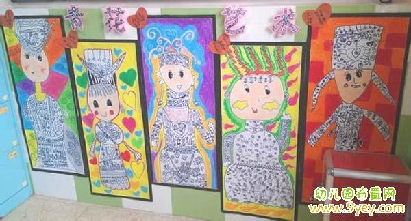 幼儿园区角中国风手工布置:青花瓷艺术图片