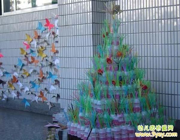 圣诞节幼儿园校园环境布置:手工制作的圣诞树