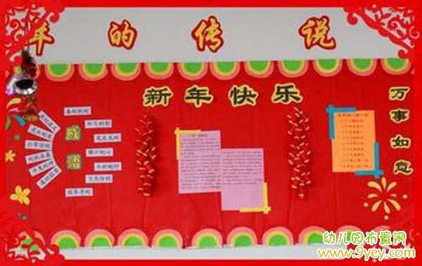 幼儿园大班新年主题墙布置:年的传说