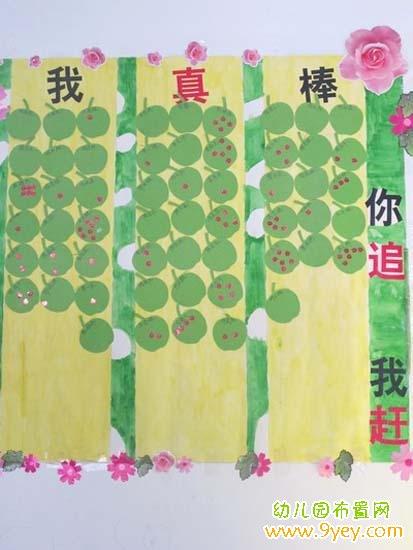 幼儿园小班红花栏设计:你追我赶