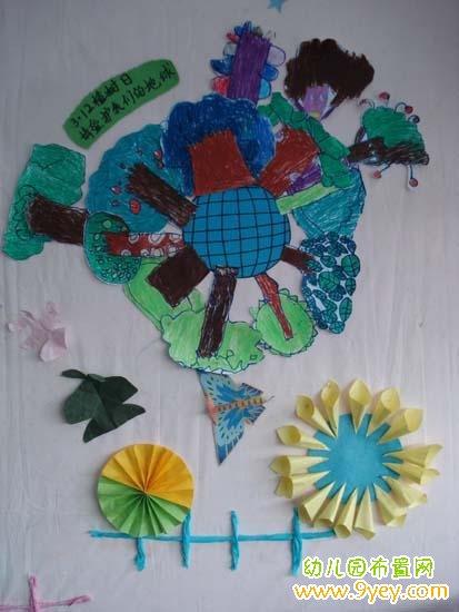 幼儿园植树节墙壁手工装饰