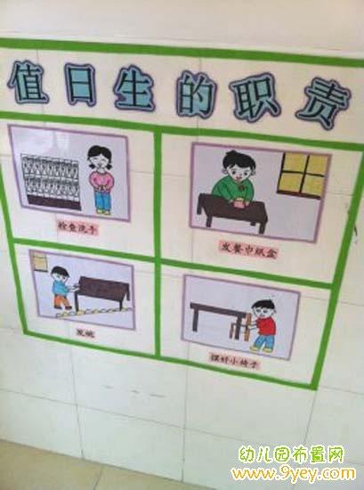 幼儿园值日生的职责墙壁示意图布置