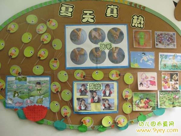 幼儿园大班夏季主题墙饰设计:夏天真热