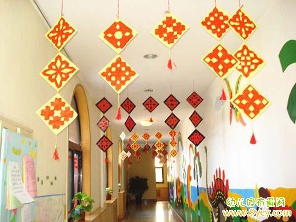 幼儿园楼道中国风吊饰装饰:剪纸图案挂饰