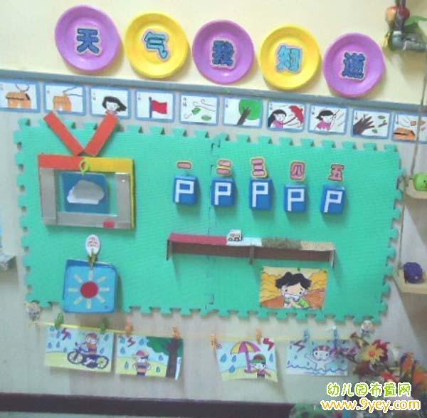 幼儿园天气预报墙面布置:天气我知道