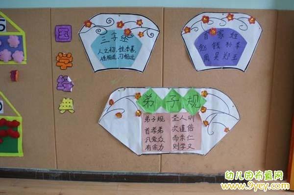 幼儿园教室墙面国学经典布置