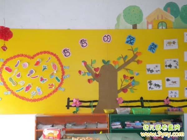 幼儿园小班蔬菜主题墙布置:香香的蔬菜