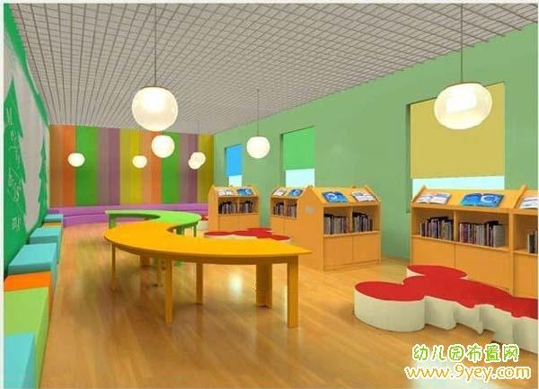 幼儿园图书室室内设计效果图_幼儿园布置网