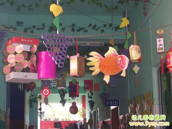 幼儿园中秋节灯笼吊饰布置