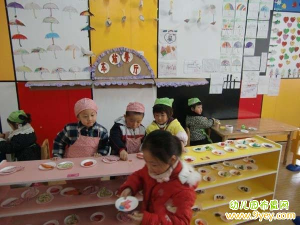 幼儿园角色游戏区角布置:车站餐厅