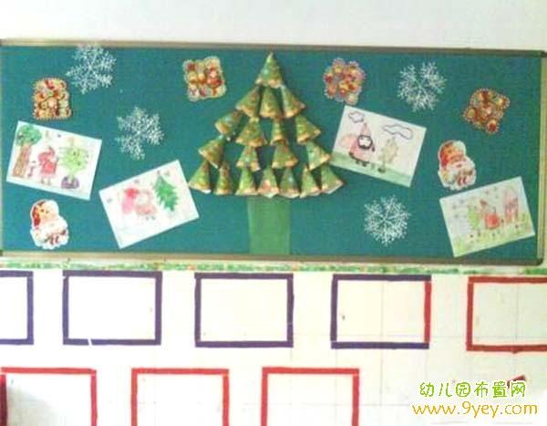 幼儿园中班圣诞节教室后墙黑板报布置图片
