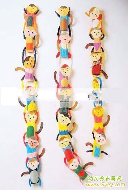 幼儿园猴年元旦墙面装饰图片