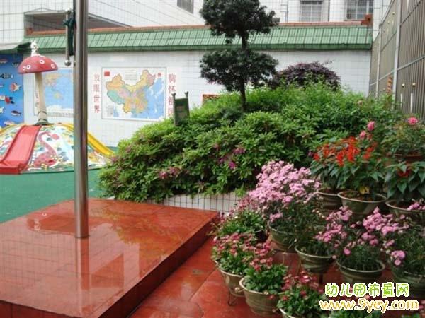 幼儿园升旗台盆栽装饰图片