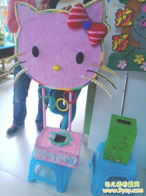 幼儿园卡通班牌手工制作图片:kitty猫班