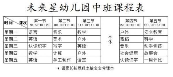 幼儿园中班课程表表格制作图片