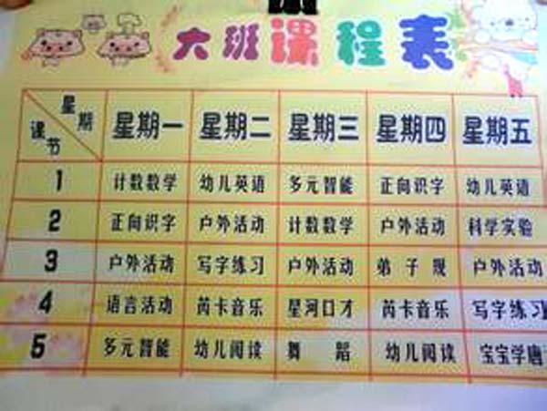 幼儿园大班课程表装饰布置图片_幼儿园布置网