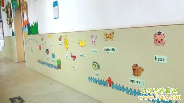 幼儿园走廊英语角布置图片