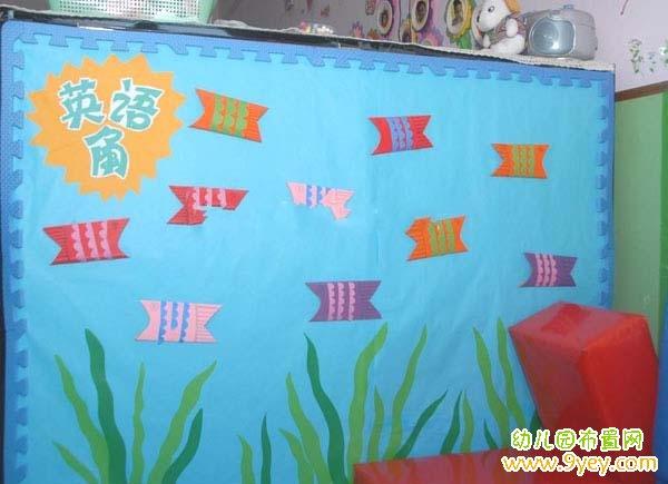 幼儿园英语角主题背景布置图片