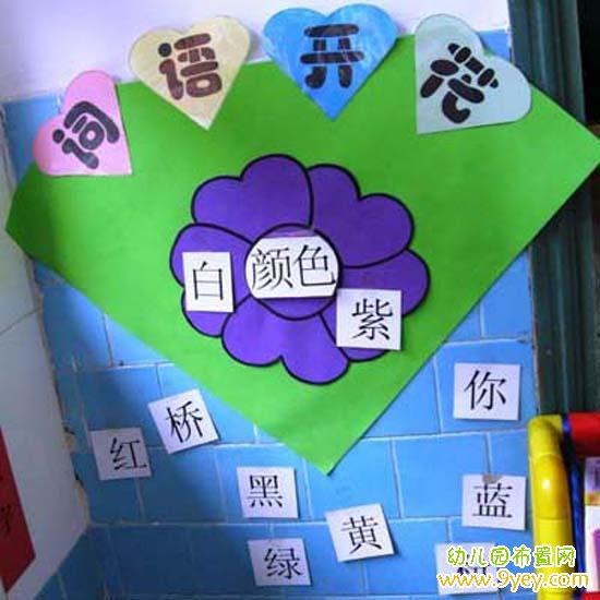 幼儿园教室语言区角布置图片:词语花开图片
