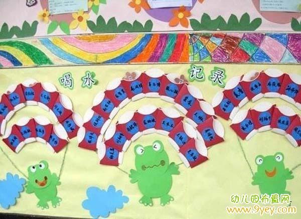 幼儿园喝水区主题墙饰布置图片