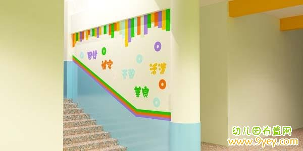 幼儿园校园文化布置图片:楼梯墙面标语彩绘